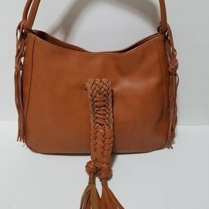 Sole Society Braided Hobo Cognac Brown